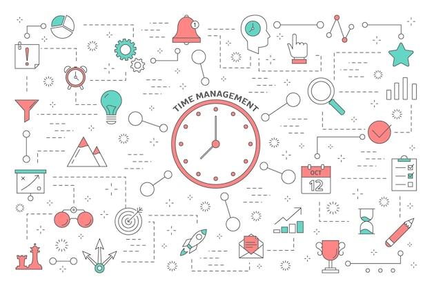 Tijd beheer concept. idee van planning en organisatie. tijdcontrole en planningoptimalisatie voor werkverbetering. geïsoleerde abstract