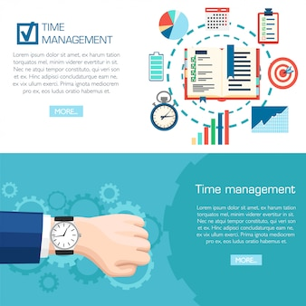 Tijd beheer planning concept. polshorloge bij de hand. planning, tijdorganisatie van zaken. illustratie op turkooizen achtergrond met versnellingen. website-pagina en mobiele app