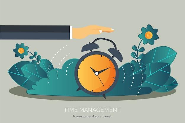 Tijd beheer platte concept