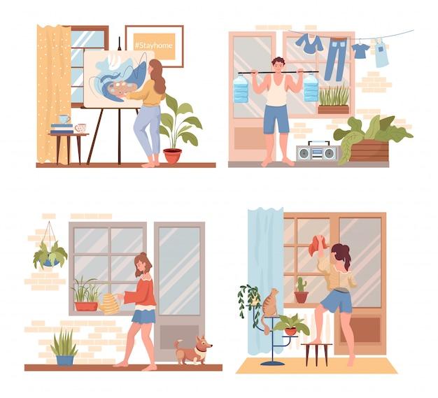 Tijd doorbrengen thuis plat concept. mensen schilderen, sportoefeningen doen, de flat opruimen.