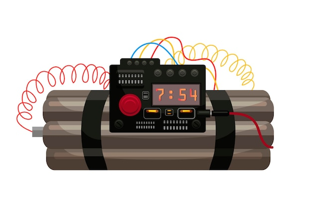 Tijd dynamiet bom met digitale countdown timer klok en draad geïsoleerd.