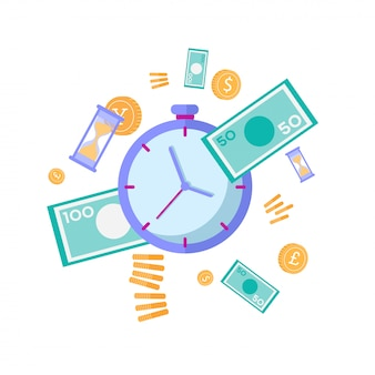 Tijd effectieve geld besparen management vlakke afbeelding