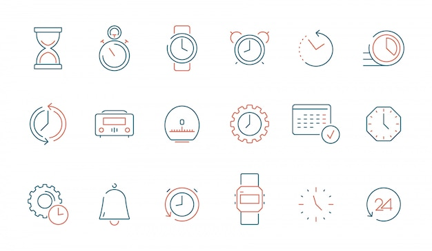 Tijd elementen icon set