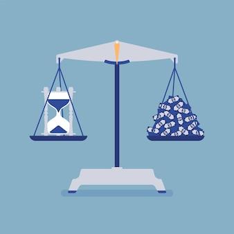 Tijd en geld schalen tool goede balans. metafoor van harmonie, aangename overeenkomst van winst en levensakkoord, gelijk gewicht van belang, motivatie om de juiste levensstijl te kiezen. vector illustratie