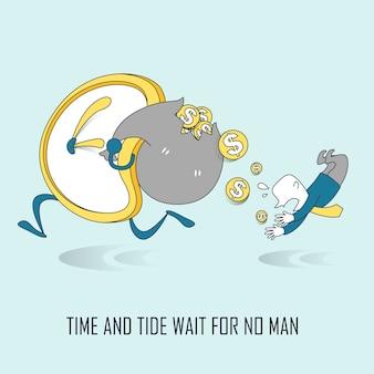 Tijd en tij wachten op niemandsconcept in dunne lijnstijl
