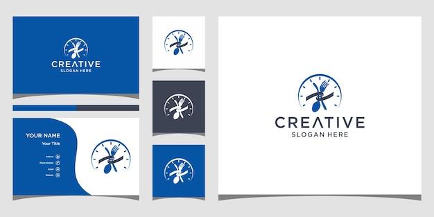 Tijd eten logo-ontwerp met sjabloon voor visitekaartjes