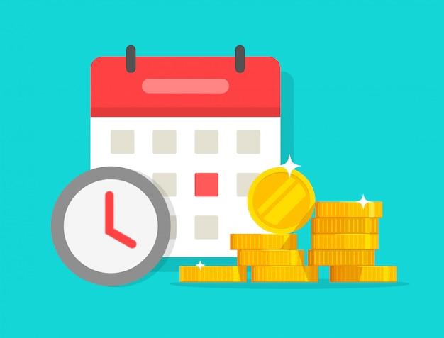 Tijd geld besparen of lening betaling deadline cartoon