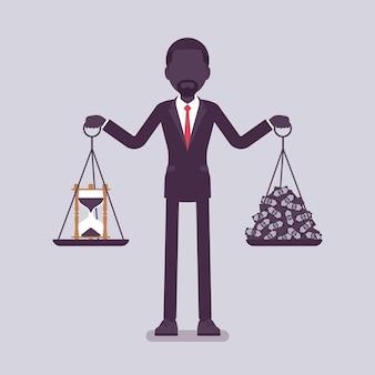 Tijd, geld goede balans voor zakenman. man in staat om harmonie te vinden, aangename overeenkomst van winst, levensakkoord, gewichten in beide handen houden, juiste levensstijl. vectorillustratie, gezichtsloze karakters