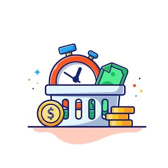 Tijd geld illustratie. klok, geld en stapel munten, bedrijfsconcept geïsoleerd wit