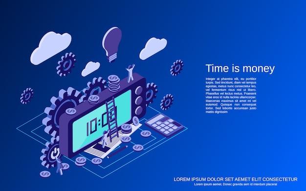 Tijd is geld, beheer, bedrijfsplanning plat isometrisch