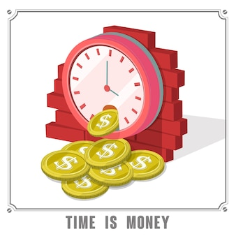 Tijd is geld concept 3d isometrische infographic met klok die munten laat vallen
