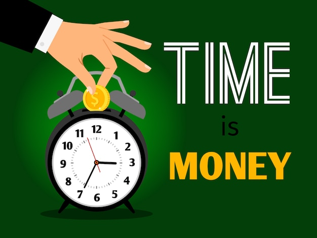 Tijd is geld concept. bespaar tijd en geld vectorillustratie, zakenman hand zet dollar in klok