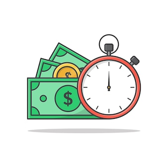 Tijd is geld concept pictogram illustratie. klok en geld symbolen plat pictogrammen
