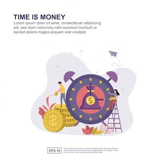 Tijd is geld concept vector illustratie plat ontwerp voor presentatie.