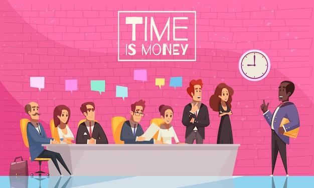 Tijd is geld illustratie met team van creatieve zakenmensen luisteren naar de toespraak van hun baas plat