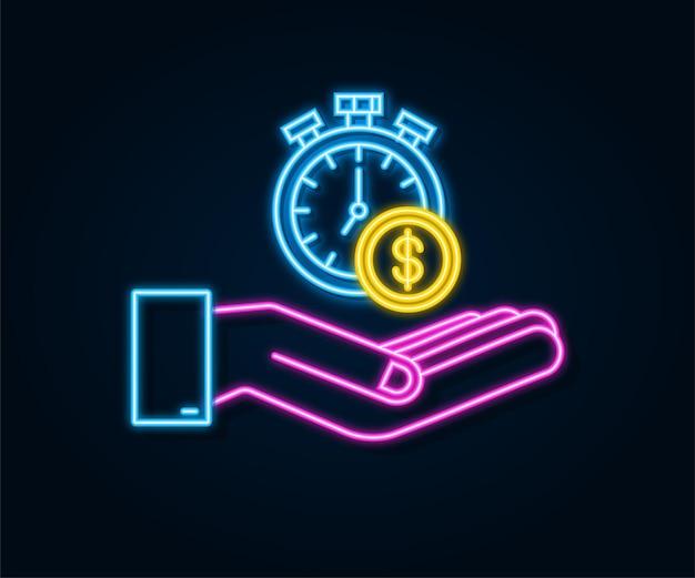 Tijd is geld neon concept klok en munt in handen financiële investering op lange termijn