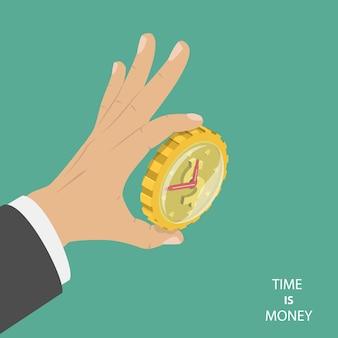 Tijd is geld plat isometrisch concept