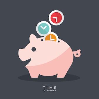 Tijd is geld spaarvarken