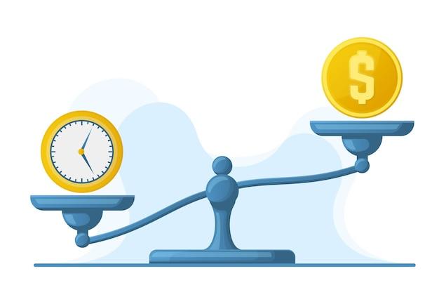 Tijd is geld, weegschaal gewichtsbalans, tijd en geld concept. weegschaal schalen geld en horloges vergelijking vector illustratie set. tijd versus geld metafoor. geld en tijd vergelijking