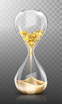 Tijd is geld, zandloper met gouden munten en zand