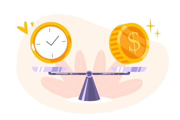 Tijd is geldsaldo op schaalpictogram. concept van timemanagement, economie en investeringen. vergelijking van werk en waarde, financiële winst. platte vectorillustratie van munten, contant geld en horloge op wip.