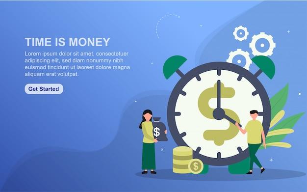 Tijd is sjabloon voor spandoek van geld. illustratieconcept eenvoudig te bewerken en aan te passen.