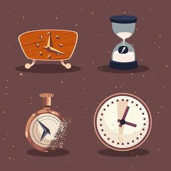 Tijd klok icoon collectie