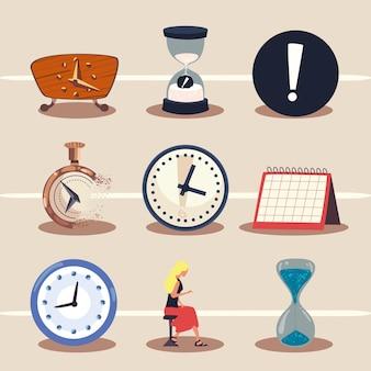 Tijd klok pictogrammenset