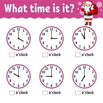 Tijd leren op de klok. educatief werkblad voor kinderen en peuters. spel voor kinderen.