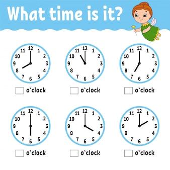 Tijd leren op de klok. educatief werkblad voor kinderen en peuters.