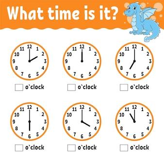 Tijd leren op de klok werkblad voor educatieve activiteiten voor kinderen en peuters