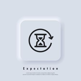 Tijd logo. zandloper pictogram. timer verwachtingen. wacht. icoon uur. vector eps 10. neumorfe ui ux