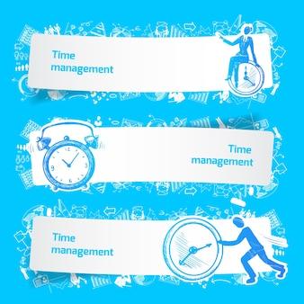 Tijd management set banners schets met mensen uit het bedrijfsleven en wekker geïsoleerd vector illustratie