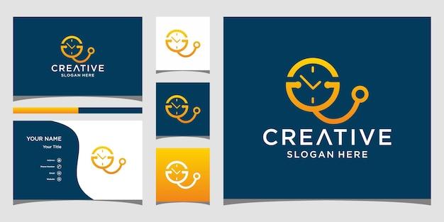 Tijd medisch logo-ontwerp met zakelijke kaartsjabloon