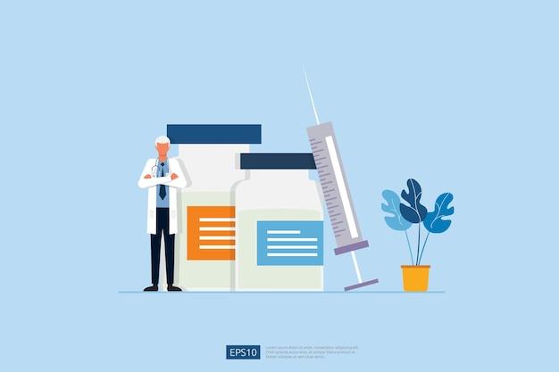Tijd om concept met arts, medische injectie en flesje geneeskunde te vaccineren. vaccin geneeskunde fles behandeling voor coronavirus infectie. illustratie van het covid-19-virusvaccin