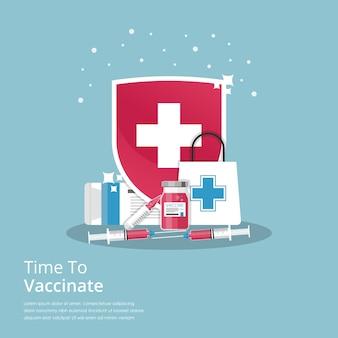 Tijd om concept met medicijnen en kruissymboolillustratie te vaccineren.
