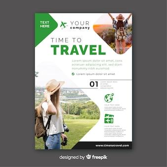 Tijd om groen sjabloon met foto te reizen