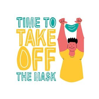 Tijd om het masker af te doen gelukkige man met een beschermend masker in zijn handen boven zijn hoofd