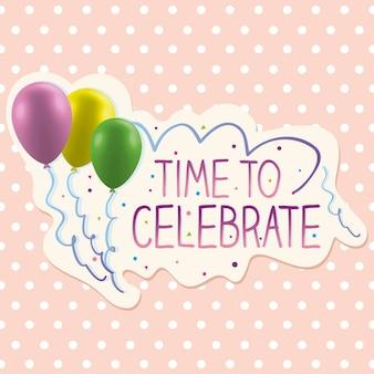 Tijd om kaart met kleurrijke ballons te vieren