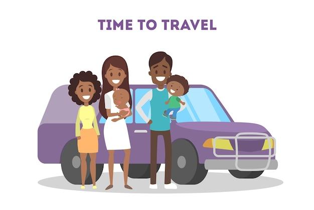 Tijd om met familie te reizen. gelukkige ouders en kinderen die bij de violette minibusauto staan. idee van vakantie en vakantie. illustratie