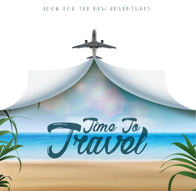 Tijd om realistische vectorbanner met witte exemplaarruimte en vliegtuig en tropisch strandmening te reizen wi