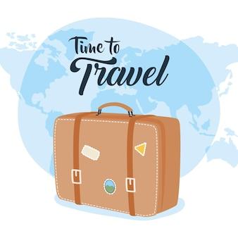 Tijd om tas met stickers en wereldontwerp, bagagebagage en toerismethema vector illustratie te reizen