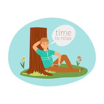 Tijd om te ontspannen, vakantieconcept, modieuze openluchtrecreatie, jonge mens die aan muziek, beeldverhaalillustratie luisteren.