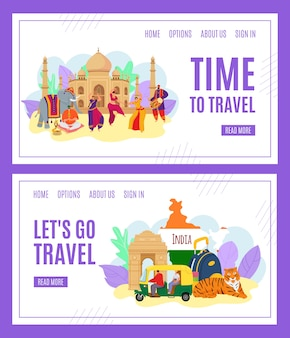 Tijd om te reizen, india toerisme banners set van illustratie. oriëntatiepunt van india. indianen in traditionele kleding dansen. reizende cultuursymbolen, tijger, architectuur. reizigers kaart.
