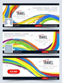 Tijd om te reizen kleurrijke web banner header layout template creatieve omslag