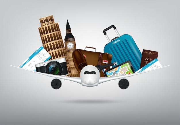Tijd om te reizen met reizende 3d-realistische items zoals camera, paspoort, kompas, kladblok, koffer