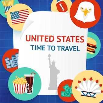 Tijd om te reizen naar de verenigde staten, de vs, new york