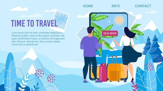 Tijd om te reizen ontwerp bestemmingspagina