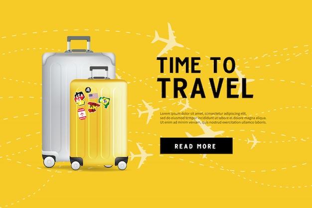 Tijd om te reizen. reizende bagage tas sjabloon voor spandoek.