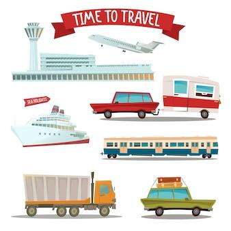 Tijd om te reizen. set van vervoer - vliegtuig, trein, schip, auto, vrachtwagen en bestelwagen